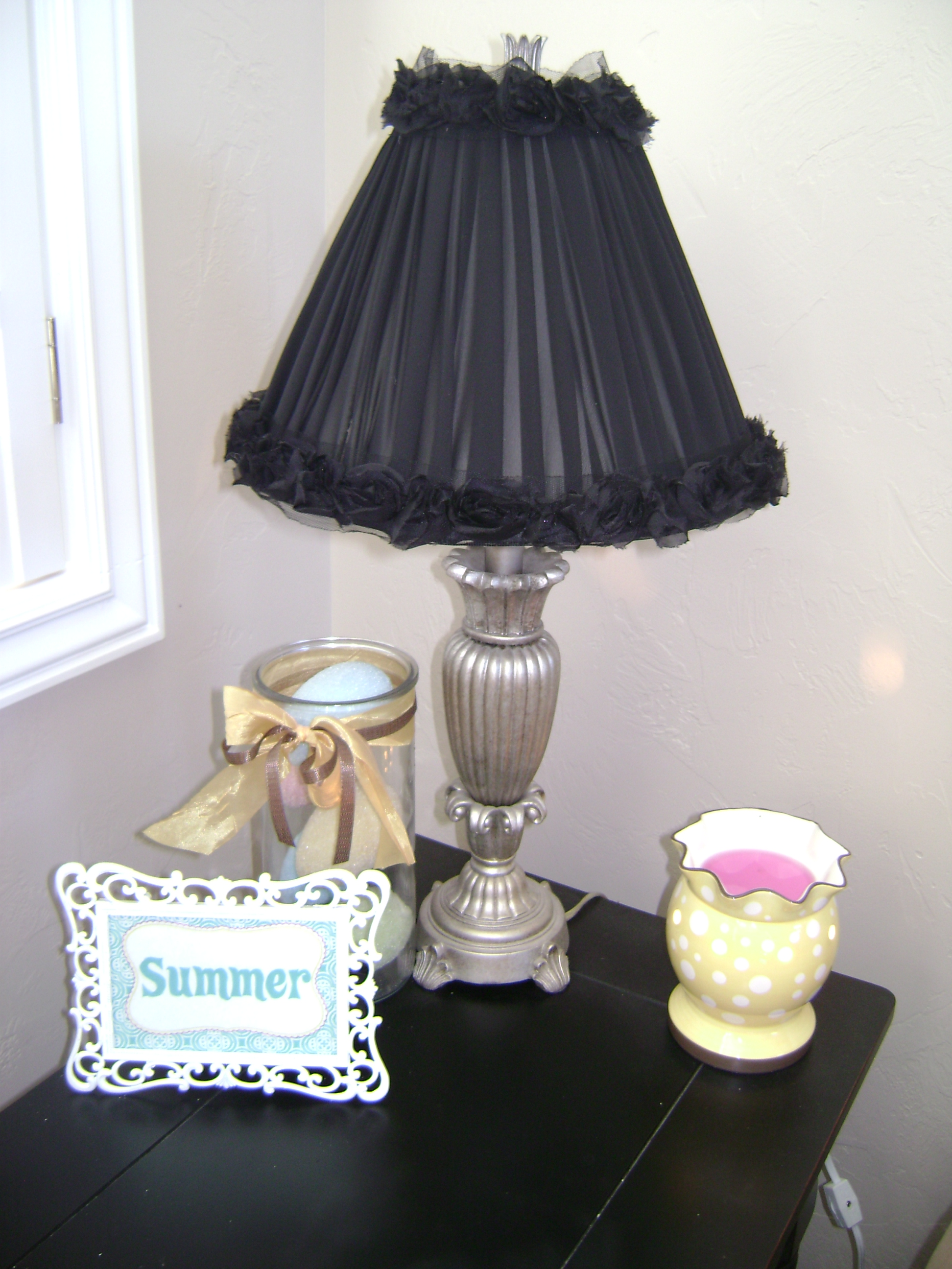 how to redo a lamp shade craft. Black Bedroom Furniture Sets. Home Design Ideas