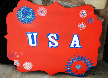 4th of July wood fireworks wood plaque