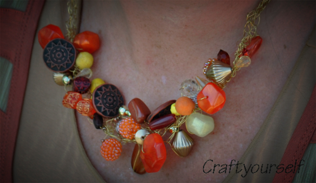 Chunky Bead Wire Crochet Necklace