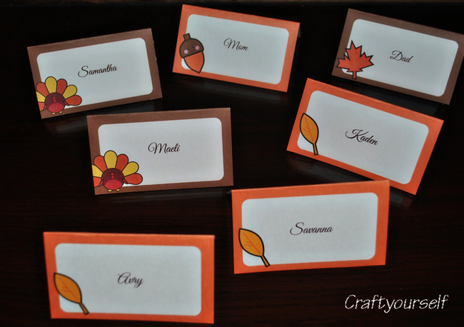Thanksgiving Place Cards Craft