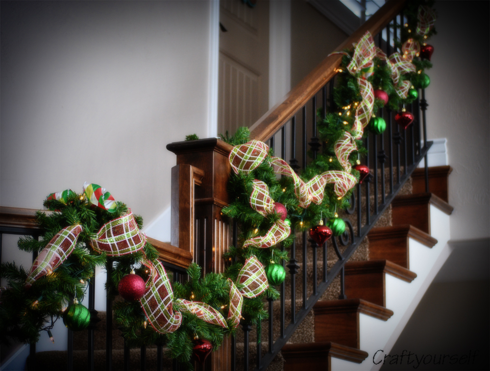 Home for the holidays my holiday home decor craft for Stair railing decorated for christmas
