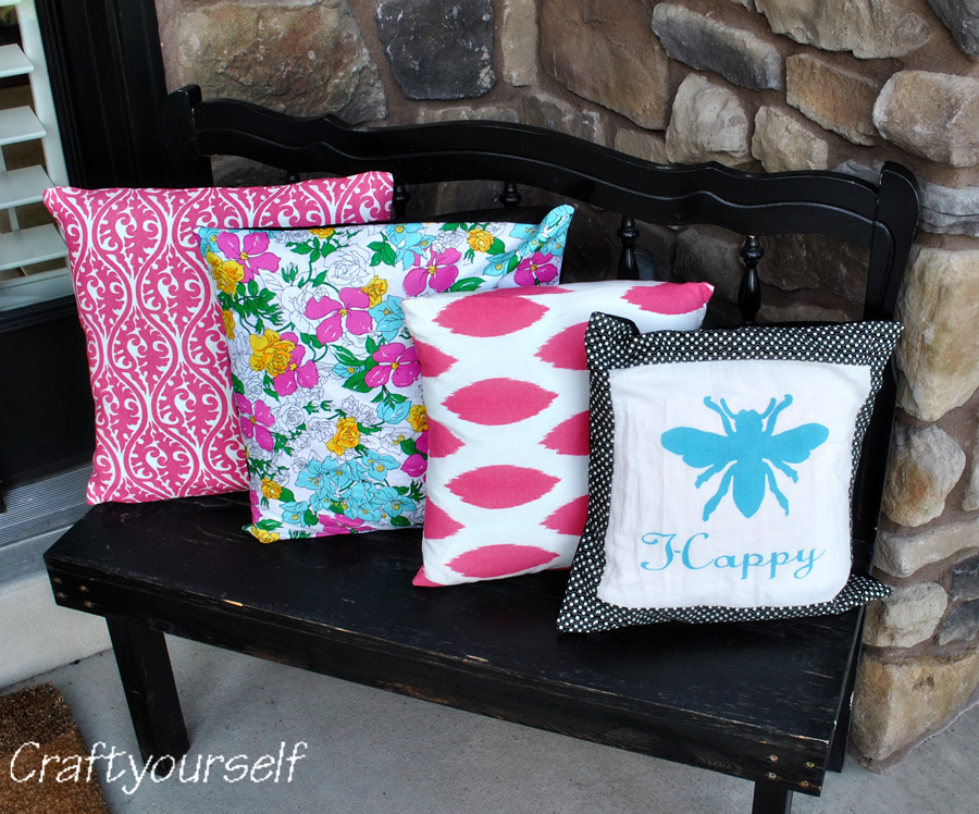 "Front porch ""BEE Happy"" pillows"