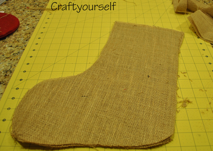 Burlap stocking cut