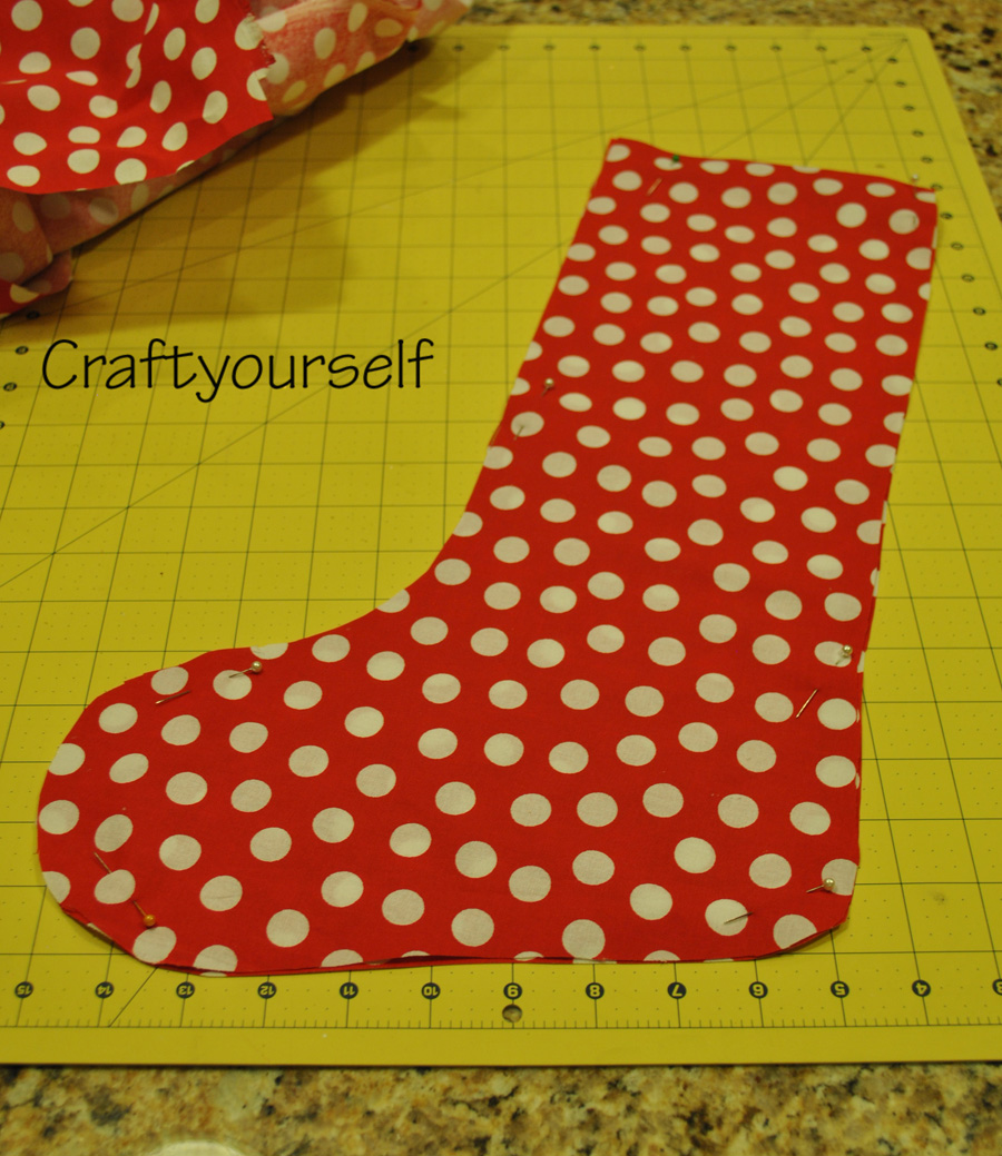 Burlap stocking polka dot