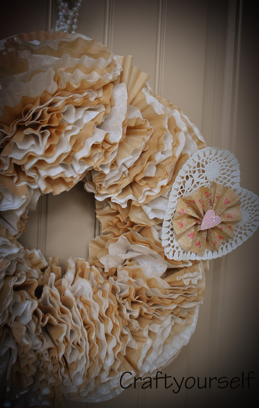 coffee filter wreath up close fixed
