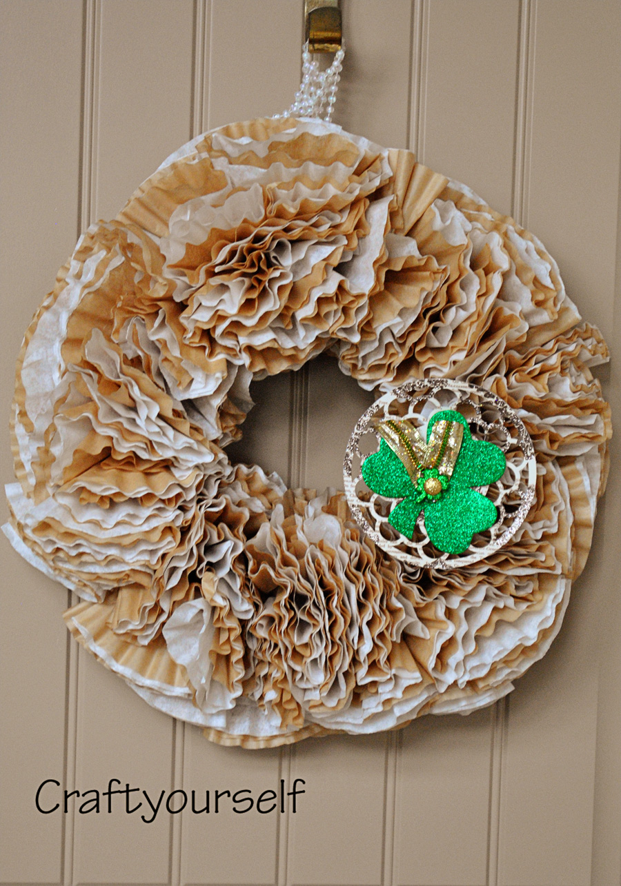 coffee filter wreath with shamrock