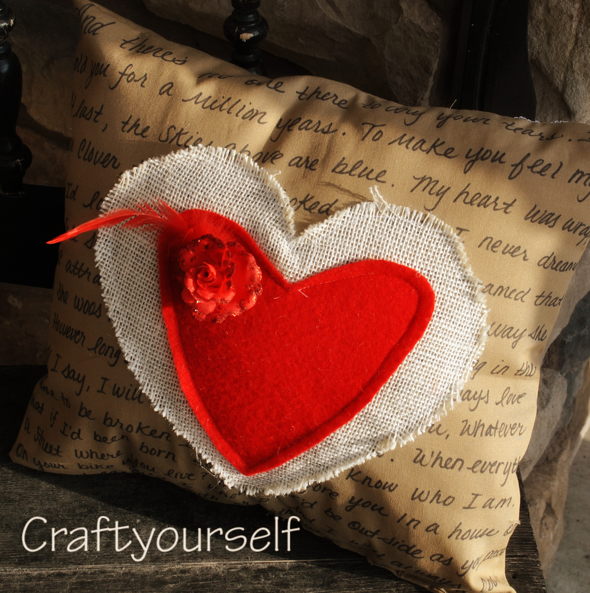 love notes pillow right side