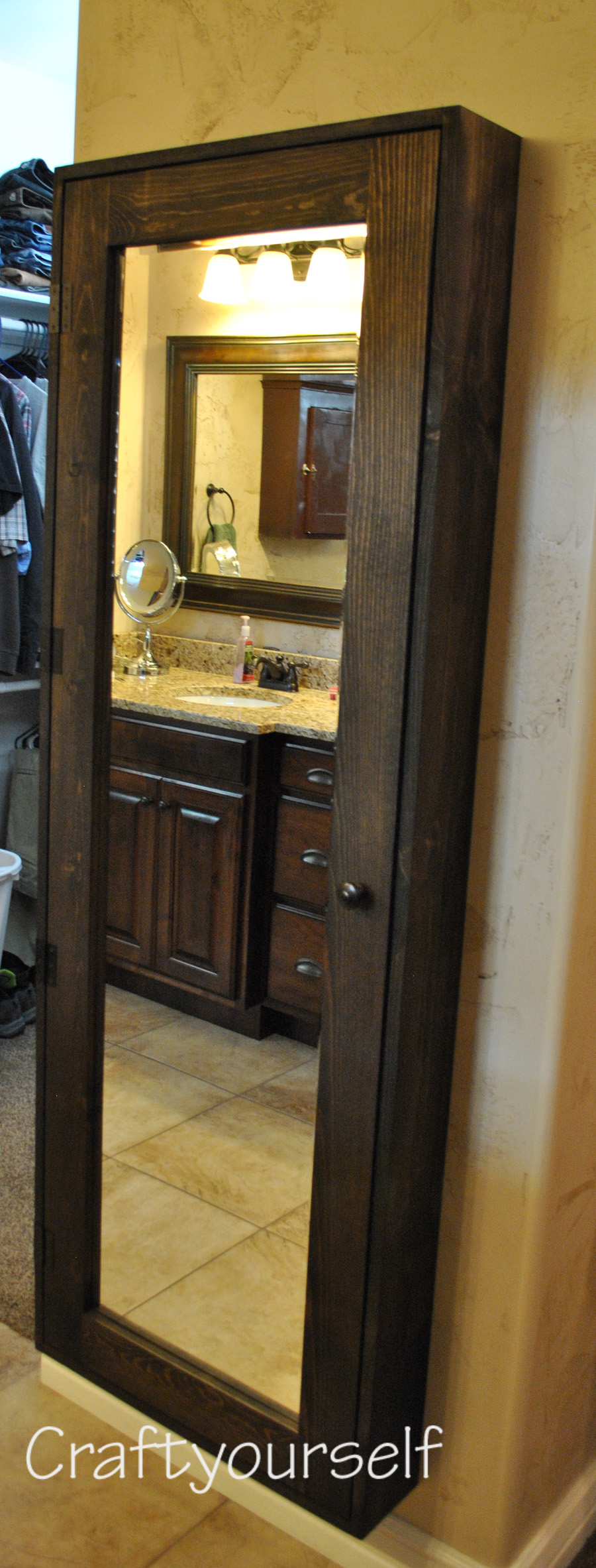 diy bathroom cabinet with mirror craft. Black Bedroom Furniture Sets. Home Design Ideas