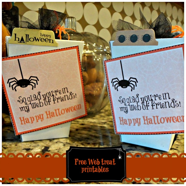 Halloween web of friends treat tag with cake pops!