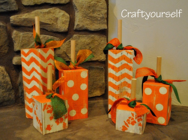 Simple Square Wood Handmade Fall Pumpkins