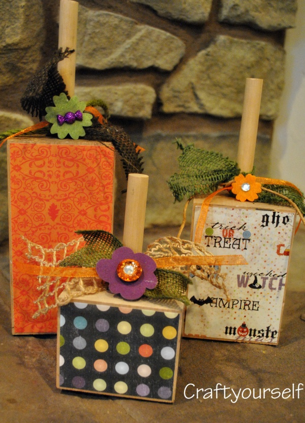 square pumpkins with scrap paper