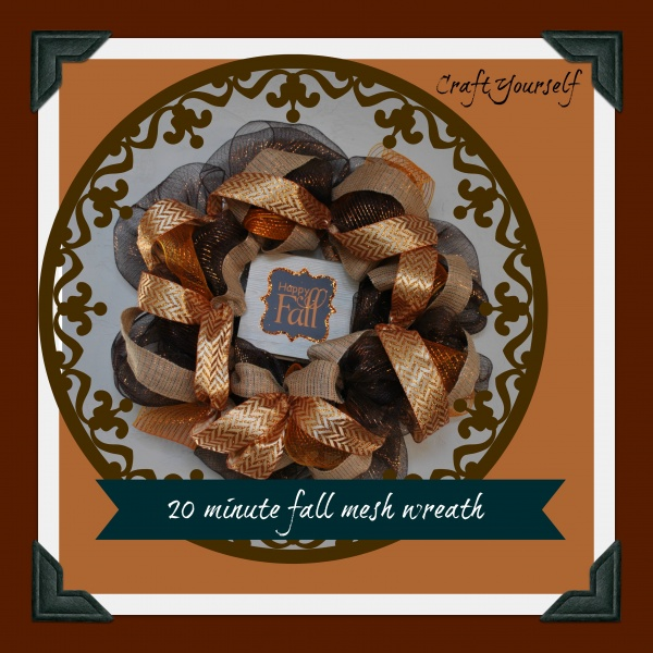 Make your own 20 minute fall Deco Mesh Wreath