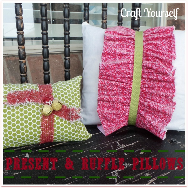present and ruffle pillows