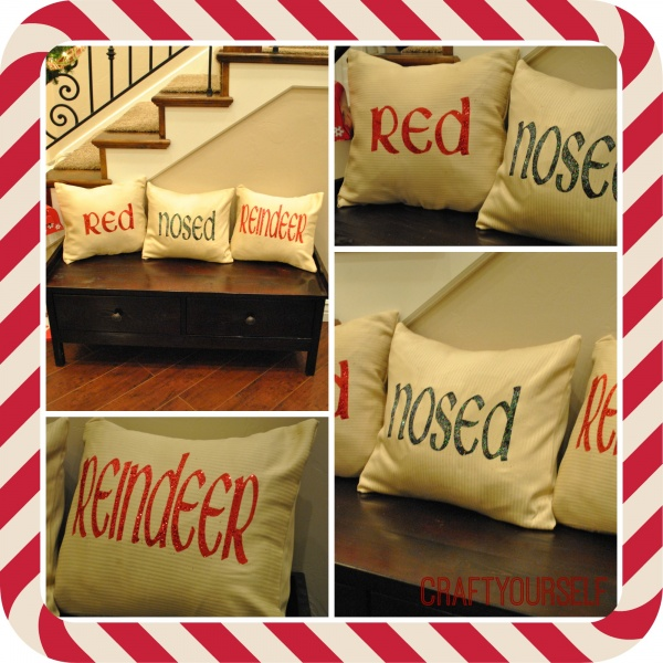 Holiday Home Decor week: Red nosed Reindeer Pillows