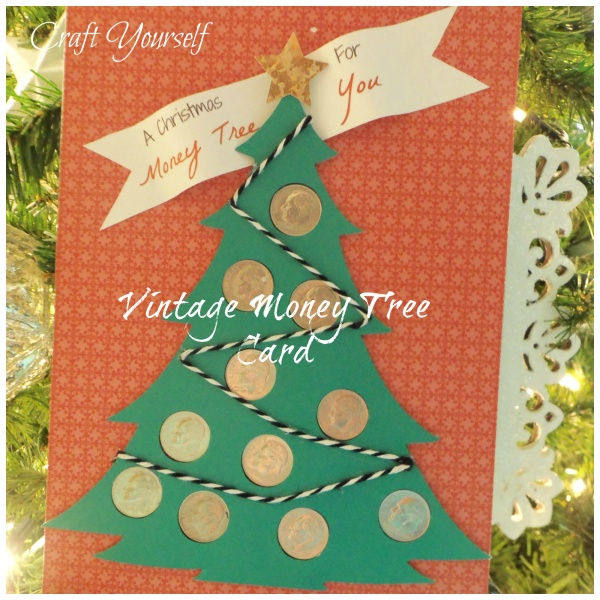 Vintage Christmas money tree dime card