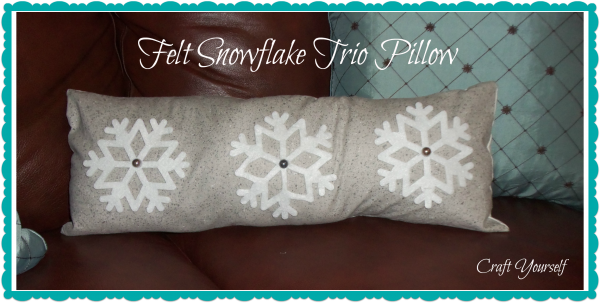 Felt snowflake trio pillow