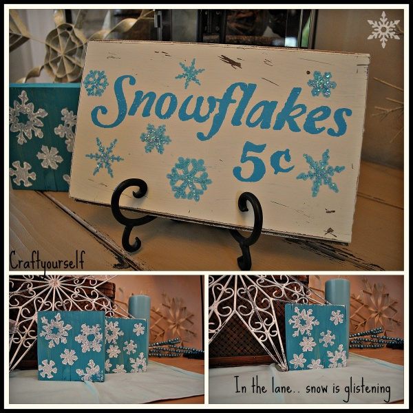 Snowflakes 5 cents sign and snowflake blocks