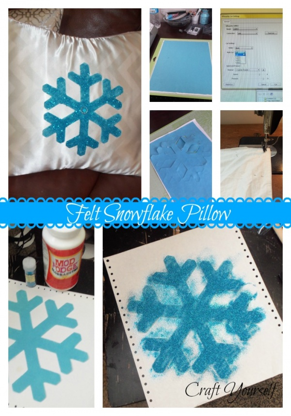 felt snowflake pillow
