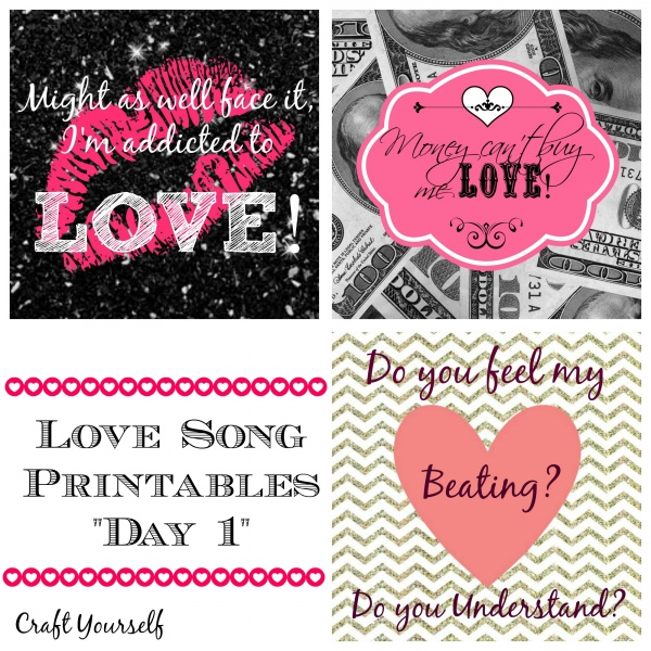 "Love songs free printables ""Day 1"""