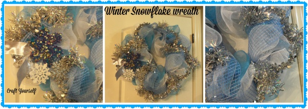 Winter Snowflake Mesh Wreath