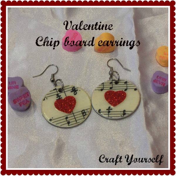 Valentine chip board earrings