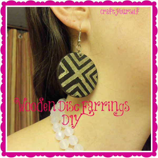 dIY Wooden disc earrings