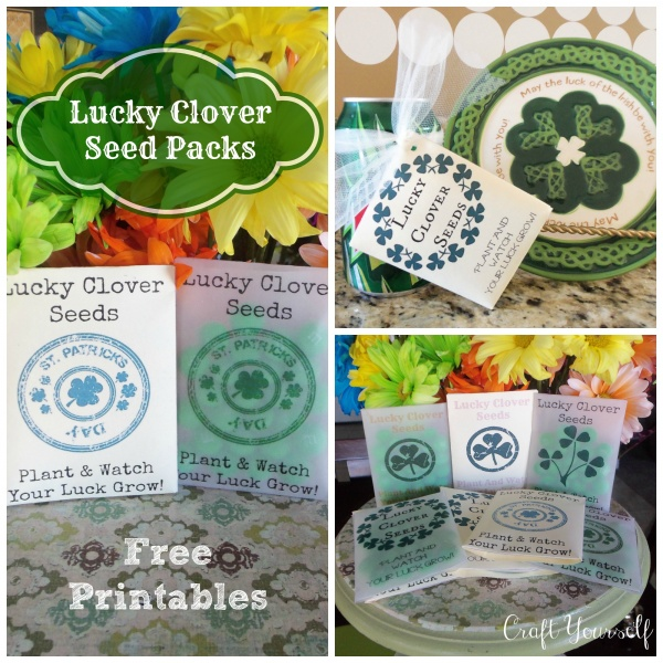 "Lucky Clover seed packs ""Free printable's"""