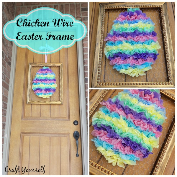 Framed Chicken Wire Easter Egg