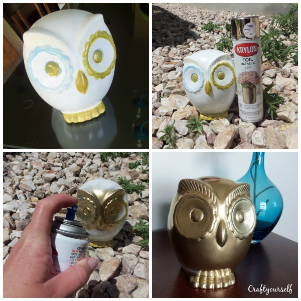 Spray painting gold owl