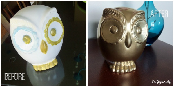 gold owl before and after