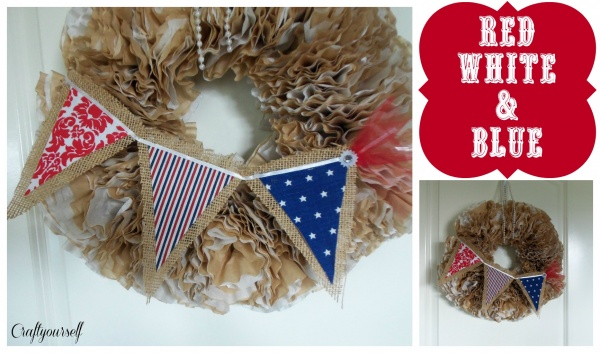 4th of july bunting on wreath