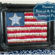 Framed burlap & Fabric ruffled flag
