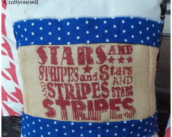 4th of July burlap pillow sleeve