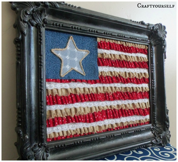 burlap flag framed
