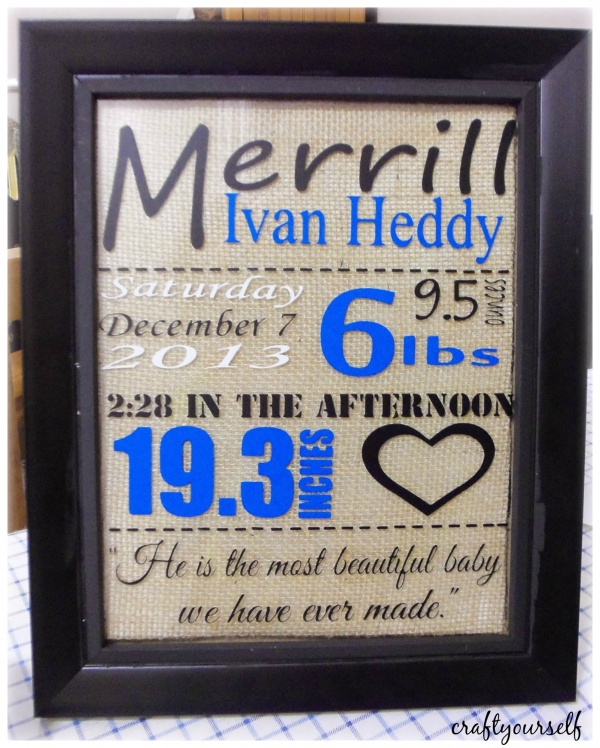Baby Stats Frame Gift