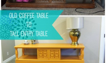 Upcycle an old coffee table into a tall entry table