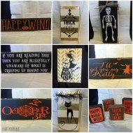 Halloween Variety of signs and wooden boards