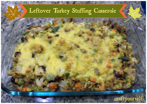 Leftover turkey stuffing casserole