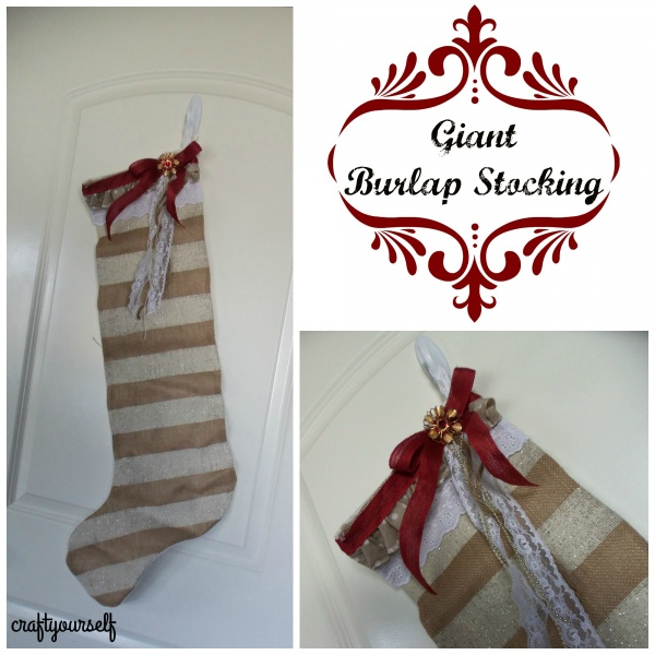 Giant burlap stocking