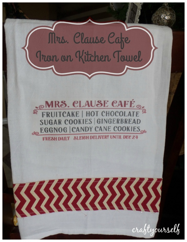 Mrs Clause iron on kitchen towel