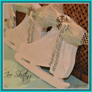 Glittered Wooden Ice Skates