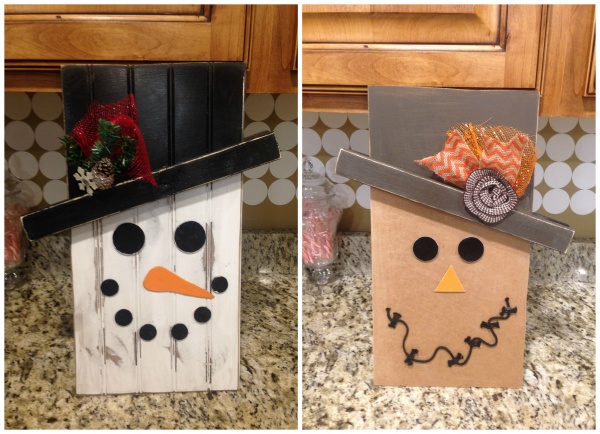 reversiable snowman scarecrow board