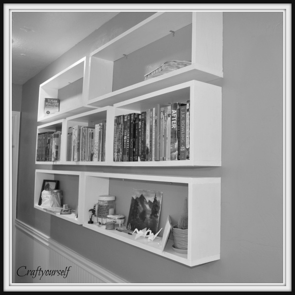 Black and white bookshelves