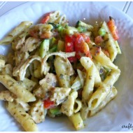 One Pot Cheesy Pesto & Chicken Garden Pasta