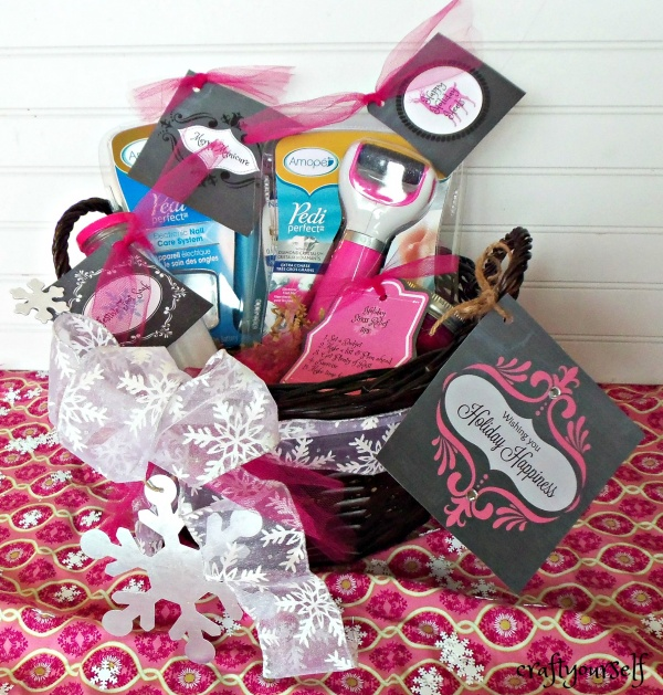 Holiday pampering gift basket with free printables amope holiday happiness gift basket negle Image collections
