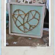 Valentines Hot Glue Wooden Framed Golden Heart – DIY
