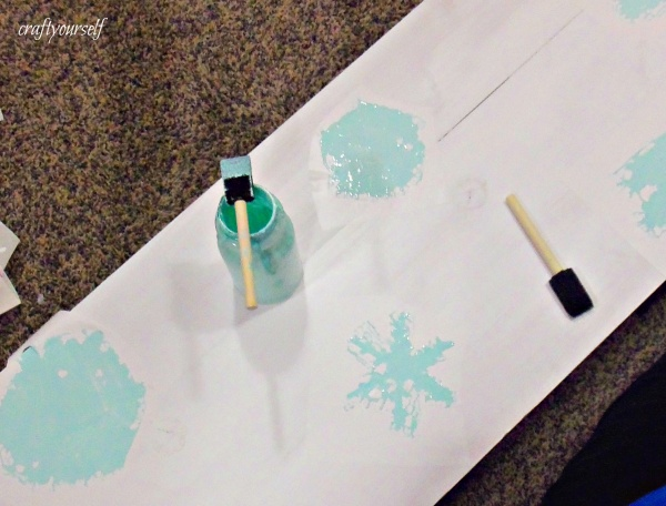 snowman board painting snowflakes