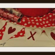 Simple Valentine's X's and Hearts Pennant Banner