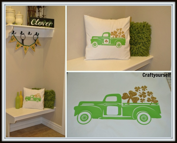 3 views of vintage truck pillow