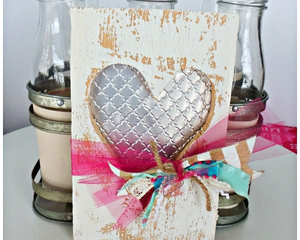 Valentine's Wood heart cut out with Embossed Metal